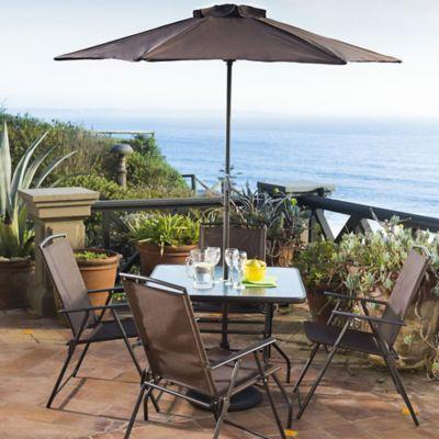 Juego de exterior Menorca mesa + 4 sillas + sombrilla