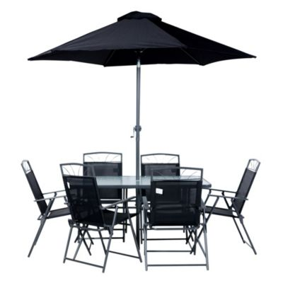 Juego de exterior Santa Lucía mesa con sombrilla + 6 sillas negro