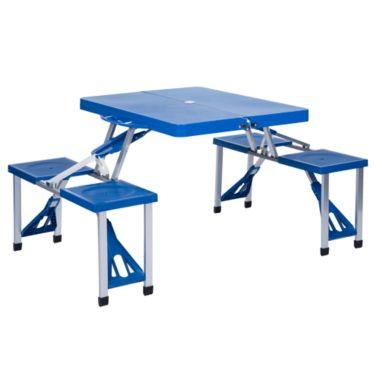 Plástico Con Mesa Y Bancos Plegable Aluminio De Azul xBredCoW