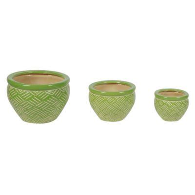 Set de maceta étnico verde