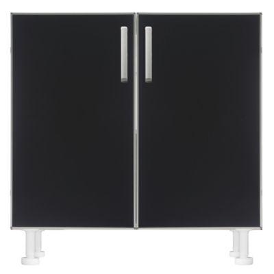 Bajo mesada 60 x 82.5 cm Lugano 2 puertas negro aluminio