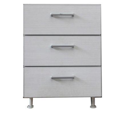 Bajo cajonero 40 x 82.5 cm Lugano 3 cajones roble blanco aluminio