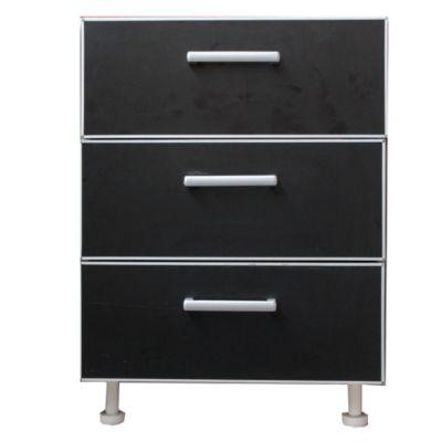Bajo cajonero 40 x 82.5 cm Lugano 3 cajones negro aluminio