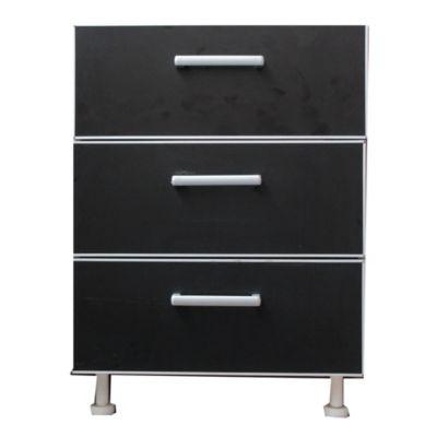 Bajo cajonero 60 x 82.5 cm Lugano 3 cajones negro aluminio