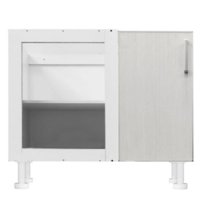 Bajo mesada esquinero Lugano 98 x 82.5 cm roble blanco aluminio