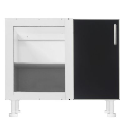 Bajo esquinero 98 x 82.5 cm Lugano 1 puerta negro aluminio