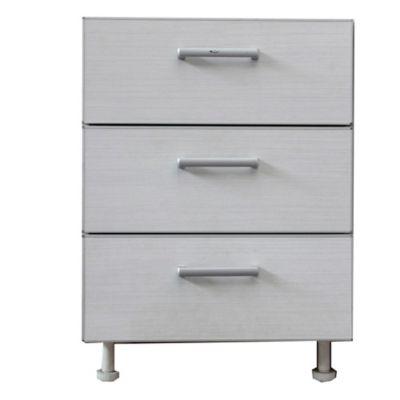 Bajo cajonero 60 x 82.5 cm Lugano 3 cajones roble blanco aluminio