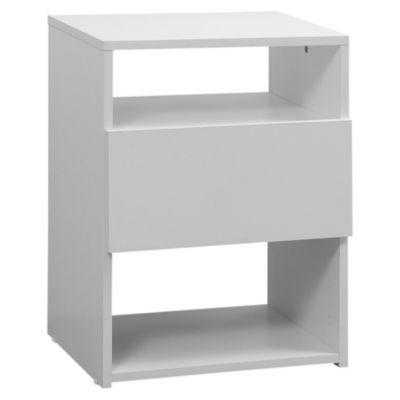 Mesa de luz con 1 cajón blanca