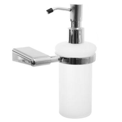 Dispensador de jabón de metal y vidrio plateado