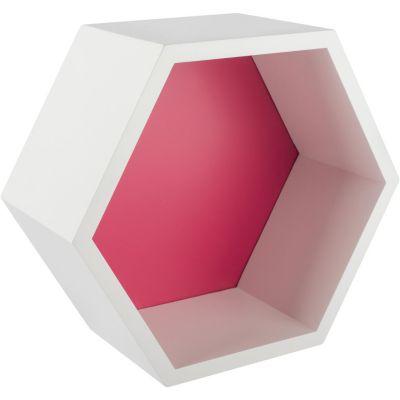 Estante de melamina hexagonal fucsia 27 x 23,4 x 12 cm
