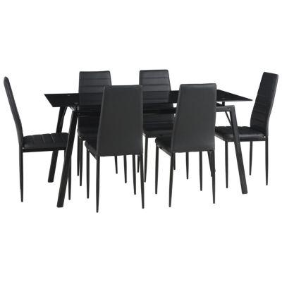 Juego de comedor Dartagnan mesa + 6 sillas negro