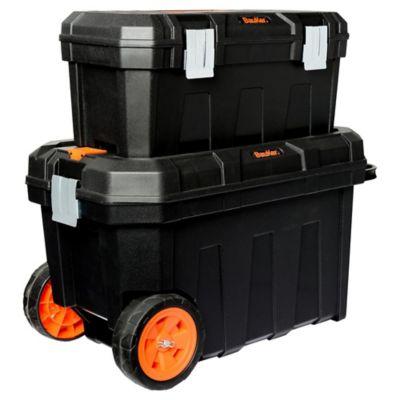 Caja de herramientas plástica 2 en 1 con ruedas