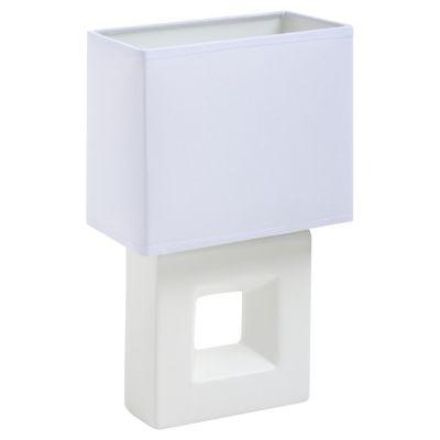Lámpara de mesa cerámica Quad E 27 blanca