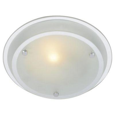 Plafón Ovni de vidrio blanco 23,5 cm 1 luz E27
