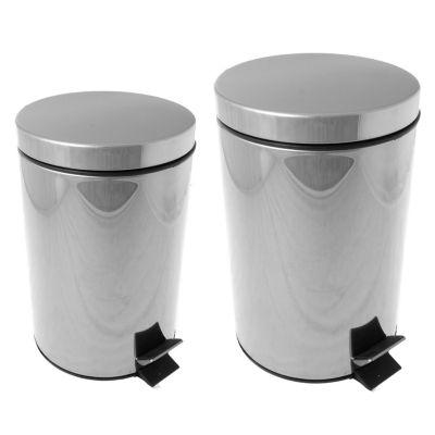Set de cestos de basura de acero inoxidable a pedal 20 + 12 l