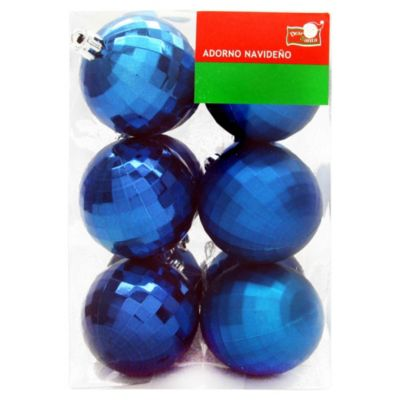 Set 12 esferas 6 cm azul diamante