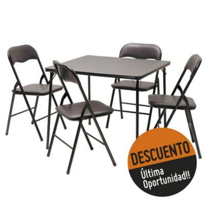 Set comedor mesa + 4 sillas plegables