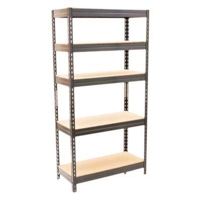Estantería de metal y aglomerado negra con 5 estantes