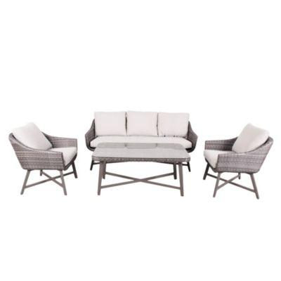 Juego de exterior Trevi mesa + 3 sillas aluminio y ratán
