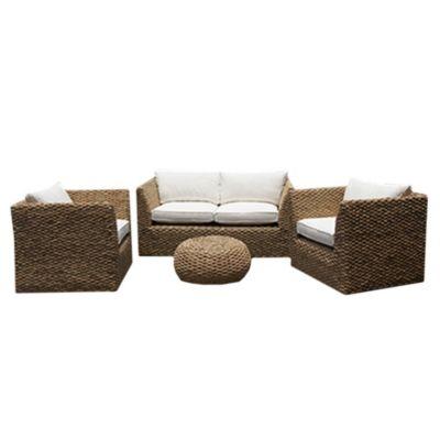 Juego de exterior mesa + 3 sillas de ratán natural