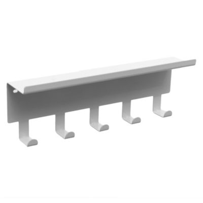Estante de metal con ganchos blanco 33 x 10,5 x 6,7 cm