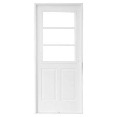 Puerta M3751 Blanca 1/2 reja de 80 cm Apertura izquierda