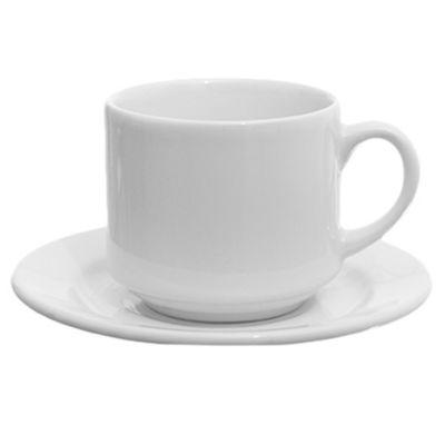 Taza té con plato cerámica blanco 200 ml