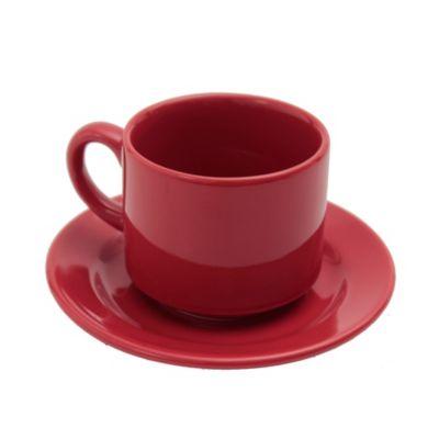 Taza té con plato cerámica rojo 200 ml