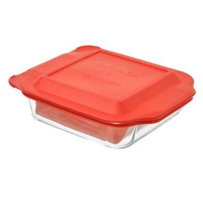 Fuente cuadrada 21 cm con tapa roja