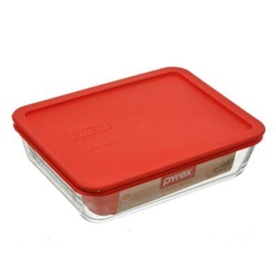 Fuente rectangular 1500 cc con tapa roja