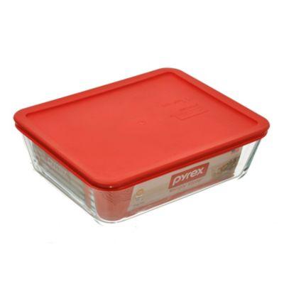 Fuente rectangular 2800 cc con tapa roja
