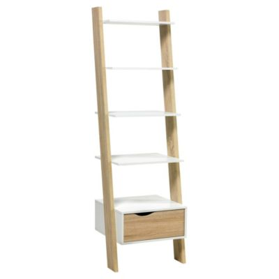 Estantería de madera blanca con 5 estantes y 1 cajón