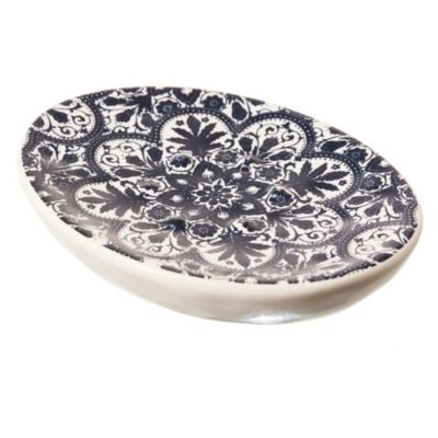 Jabonera redonda de cerámica blanca y azul
