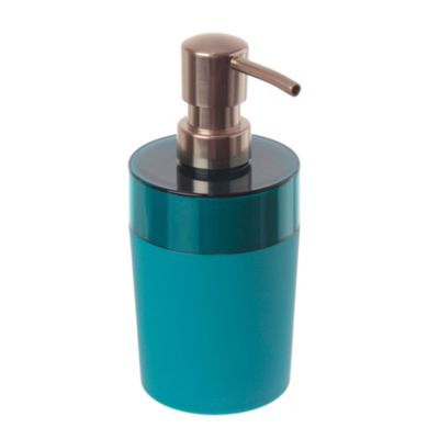 Dispensador de jabón de plástico turquesa