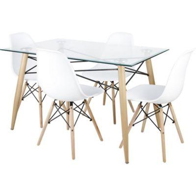 Juego de comedor Irlanda mesa + 4 sillas blanco