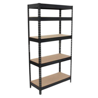 Estantería de metal y aglomerado marrón con 5 estantes