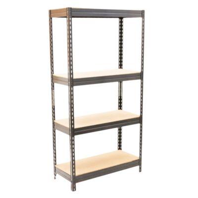 Estantería de metal y aglomerado marrón con 4 estantes