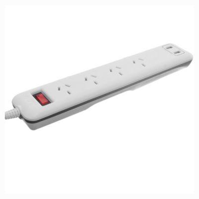 Zapatilla eléctrica 4 tomas + 2 cargadores USB blanca