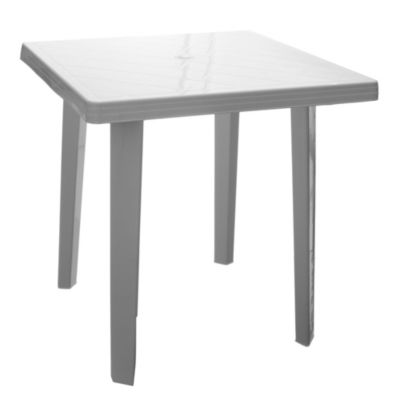 Mesa de exterior de aluminio y textileno blanca