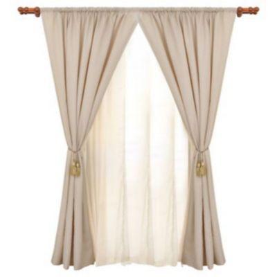 Set de cortinas de tela café 145 x 220 cm 6 piezas