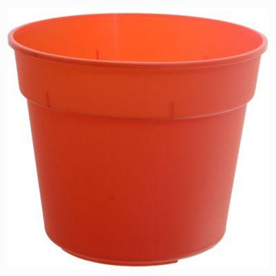 Maceta circular de plástico naranja