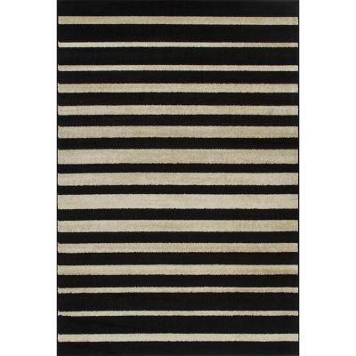 Alfombra Carrera Rayas Negras 150 x 220 cm