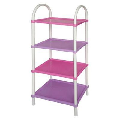 Estantería de plástico rosa con 4 estantes