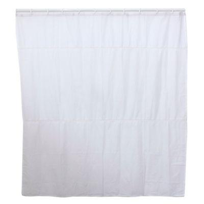 Cortina de baño de poliéster y algodón blanca
