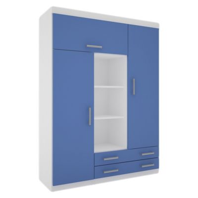 Placard juvenil 3 puertas con 2 cajones blanco y azul