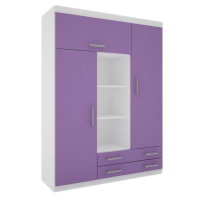 Placard juvenil 3 puertas con 2 cajones blanco y lila