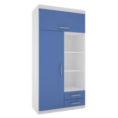 Placard juvenil 2 puertas con 2 cajones blanco y azul