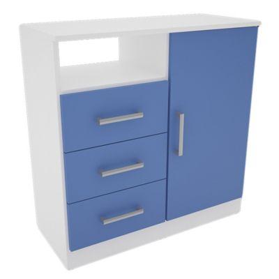 Cómoda Juvenil 3 cajones con 1 puerta blanca y azul
