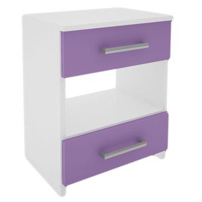 Mesa de luz con 2 cajones blanca y lila