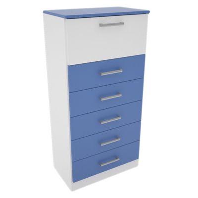 Chifonier 5 cajones con 1 puerta blanco y azul